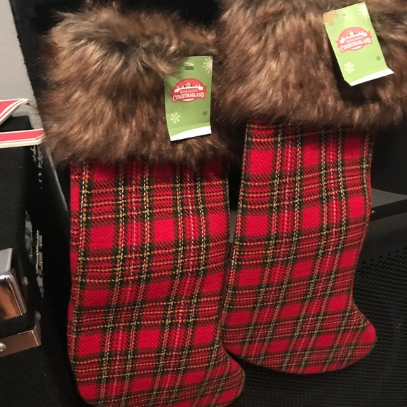 3 plaid christmas stockings with fur topping - Plaid Christmas Stockings